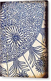 Blue Oriental Vintage Tile 01 Acrylic Print