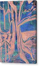 Blue-peach Dawn River Tree Acrylic Print