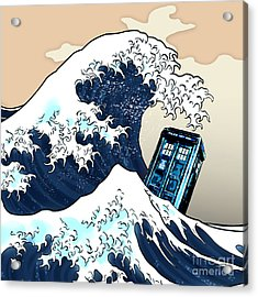 blue Phone booth vs the great wave Acrylic Print
