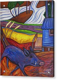 Acrylic Print featuring the painting Blue Pig By Blue Hut by Dianne  Connolly