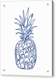 Blue Pineapple- Art By Linda Woods Acrylic Print
