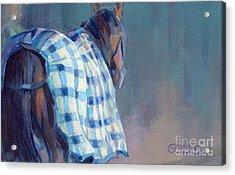 Blue Plaid Acrylic Print by Kimberly Santini
