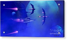 Blue Planet And Moons Acrylic Print by Corey Ford