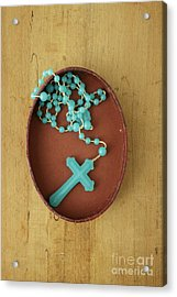Blue Plastic Rosary In Oval Box Acrylic Print