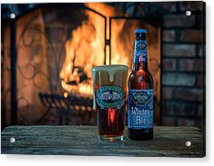 Blue Point Winter Ale By The Fire Acrylic Print by Rick Berk