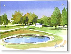 Acrylic Print featuring the painting Blue Pond At The A V Country Club by Kip DeVore
