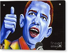 Blue Pop President Barack Obama Acrylic Print by Nannette Harris