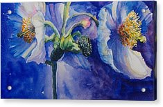 Blue Poppies Acrylic Print by Debra  Bannister