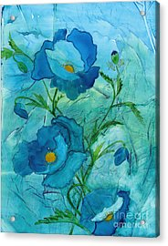 Blue Poppies, Watercolor On Yupo Acrylic Print