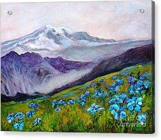 Blue Poppy Field Acrylic Print