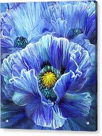 Acrylic Print featuring the mixed media Blue Poppy Splash by Carol Cavalaris
