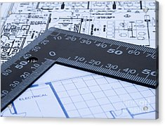 Blue Prints And Ruler Acrylic Print by Blink Images
