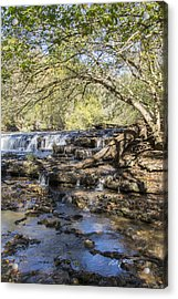Blue Puddle Falls Acrylic Print by Ricky Dean