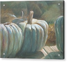 Blue Pumpkins Acrylic Print by Linda Eades Blackburn