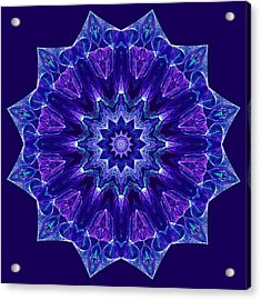 Blue And Purple Mandala Fractal Acrylic Print
