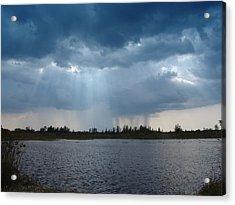 Blue Rain Down Acrylic Print by Florene Welebny