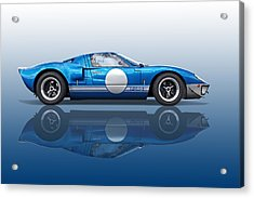 Blue Reflections - Ford Gt40 Acrylic Print