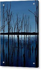 Blue Reservoir - Manasquan Reservoir Acrylic Print by Angie Tirado