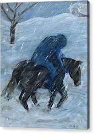 Blue Rider On Horse Acrylic Print