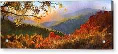 Acrylic Print featuring the painting Blue Ridge At Fall by Sergey Zhiboedov