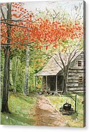 Blue Ridge Cabin Acrylic Print by Christine Lathrop