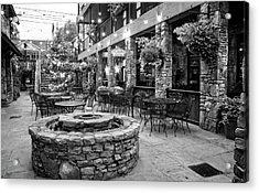 Blue Ridge Courtyard In Black And White Acrylic Print