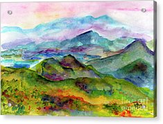 Blue Ridge Mountains Georgia Landscape  Watercolor  Acrylic Print