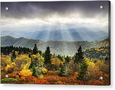 Blue Ridge Parkway Light Rays - Enlightenment Acrylic Print by Dave Allen