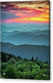 Blue Ridge Parkway Sunset - The Great Blue Yonder Acrylic Print