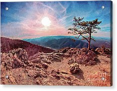 Acrylic Print featuring the digital art Blue Ridge Rocky Hilltop And Tree At Sunset Ap by Dan Carmichael