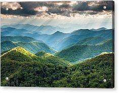 Blue Ridge Southern Appalachian Mountain Light Show Acrylic Print by Mark VanDyke