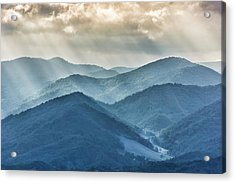 Blue Ridge Sunset Rays Acrylic Print