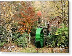 Blue Ridge Waterwheel Acrylic Print by Stan and Anne Foster