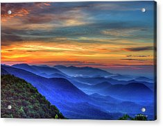 Acrylic Print featuring the photograph Blue Ridges 2 Pretty Place Chapel View Great Smoky Mountains Art by Reid Callaway