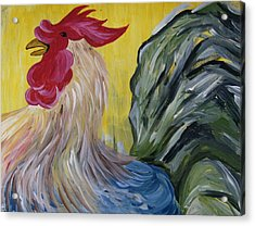 Acrylic Print featuring the painting Blue Rooster by Leslie Manley