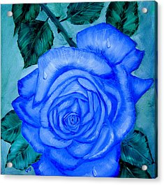 Acrylic Print featuring the painting Blue Rose by Quwatha Valentine