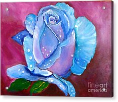 Blue Rose With Dew Drops Acrylic Print by Jenny Lee