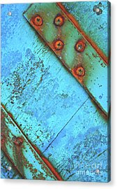 Blue Rusty Boat Detail Acrylic Print by Lyn Randle