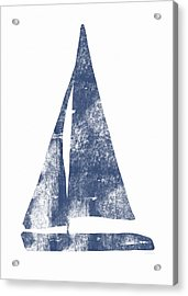 Blue Sail Boat- Art By Linda Woods Acrylic Print by Linda Woods