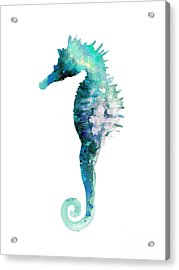 Blue Seahorse Watercolor Poster Acrylic Print