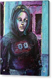 Blue Self Portrait Acrylic Print by Sarah Crumpler