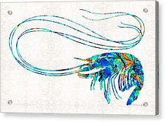 Blue Shrimp Art By Sharon Cummings Acrylic Print by Sharon Cummings