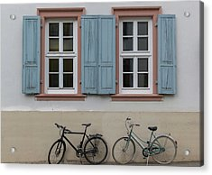 Blue Shutters And Bicycles Acrylic Print
