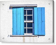 Blue Shutters Of Peniche Acrylic Print by David Letts