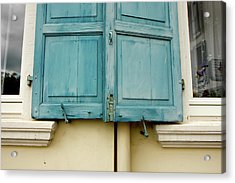 Acrylic Print featuring the photograph Blue Shutters Rudesheim by KG Thienemann
