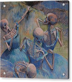 Blue Skelly Dancers Acrylic Print by Marie Marfia