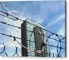 Blue Sky And Barbed Wire Acrylic Print