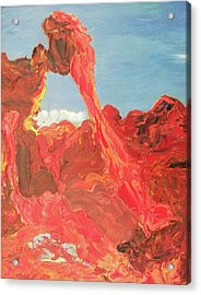 Blue Sky And Orange Rocks Acrylic Print by Suzanne  Marie Leclair