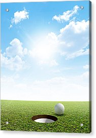 Blue Sky And Putting Green Acrylic Print by Allan Swart