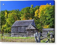 Blue Sky Autumn Barn Acrylic Print by Luke Moore